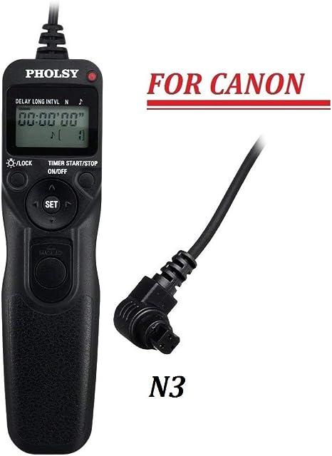 PHOLSY C8 / TC-80N3 Mandos a Distancia con Temporizador y Intervalómetro para Canon EOS 6D-II 1DX-II 1DS-III 1DS-II 1D-IV 1D-III 1D-II-N 1D 5D-II 5D-III 5D-IV 5DS 5D 6D 7DII 50D