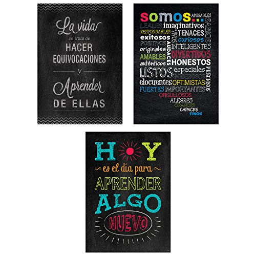 Creative Teaching Press Chalk It Up! Spanish Inspire U Poster, 3-Pack (Accent Classrooms, Walls, Hallways, Learning Spaces, Common Areas and More)