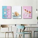 Delicioso postre lienzo pintura rosa azul arándano crema donut leche carteles e impresiones cuadros de pared para decoración de sala