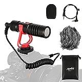 Moukey MCM-1 - Micrófono para cámara réflex digital, micrófono de vídeo externo para teléfono, Smartphone, Vlogging, Canon/Nikon/Sony