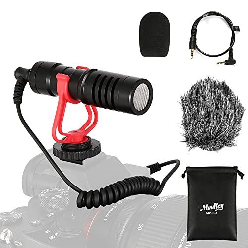 Moukey MCM-1 DSLR Camera Microphone, External Video Mic Shotgun for Phone, Smartphone, Vlogging, Canon/Nikon/Sony Camera