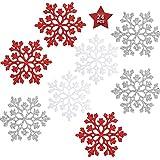 HONGECB Adornos de Navidad, Copo de Nieve Decoraciones, Decoraciones Colgantes, Decoración del Árbol de Navidad con Purpurina, Plateado, Azul, Rojo, para Boda Fiestas Adornos Festivo, 24 Piezas