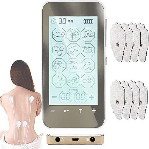 TENS Massaggiatore Elettrostimolatore, Elettrostimolatore Digitale con Touch Screen, 12 Modalità (argento)