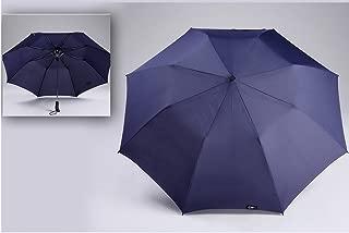 Men's Umbrella Folding Two Fold Umbrella Big Purple Umbrella Big Umbrella Three Automatic Umbrella Huhero (Color : Blue)