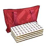 DFJU Jogos Mahjong Chinês Tradicional Mahjong Amarelo Cristal Cartão Mahjong Grande Jogo de Cartas Casual Mahjong Presente 144 Peças Festa Casa Estilo Retro