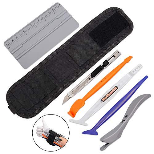 FOSHIO Car Vinyl Wrap Magnet-Armband-Werkzeugset enthält verstellbaren Armbandgürtel-Organizer, weichen Micro-Stick-Rakel, magnetisch Falten-Rakel, Sicherheitsschneider & einziehbares Universalmesser