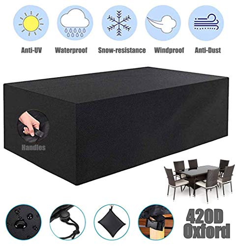 ZHAONI Patio Table And Chair Set Cover Waterproof, Outdoor Furniture Cover, Tear-Resistant And UV Resistant, Heavy Duty 420D Oxford Fabric Wind Proof, Snow Dust,250x250x90cm/8x8x3ft