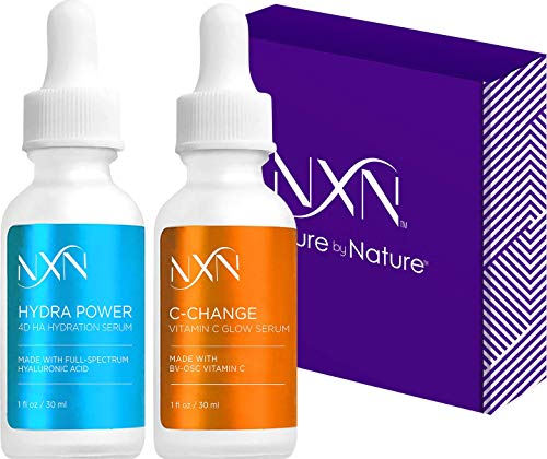 NxN Vitamin C & Hyaluronic Acid Anti Aging Serum Set, Clinically Proven to Brighten Skin, Reduce Dark Spots, Improve Hyper Pigmentation Age Spots, Reduce Fine Lines & Wrinkles - 1fl oz Face Kit