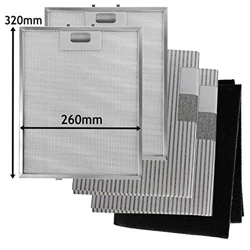 SPARES2GO metalen gaas, koolstof + vetfilters voor afzuigkap/afzuigkap (320 x 260 mm, 5 stuks)