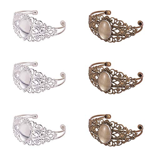 PandaHall Elite 10pcs Brass Bezel Tray Blank Filigree Cuff Bangles Bracelet with 10 pcs 25mmx18mm Clear Oval Cabochon for Bracelet DIY Jewelry Making, Men and Women, Antique Bronze/Silver