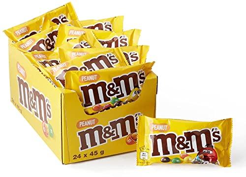 M&Ms Peanuts Snack en Bolitas de Colores de Cacahuete y Chocolate con Leche, 24 Bolsitas x 45 Gramas, 1080 Gramos