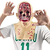 Creepy Rotten Zombie Mask Walking Dead Latex Full Head Mask for Halloween Costume Decoration Prop Adult (Bloody Full face)