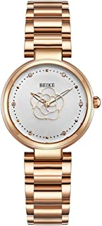 33mm Solid Steel Belt Casual Fashion Waterproof 3ATM Students Rose Gold Red White Flower Women's Girl Lady Simple Diamond Ultra-Thin 8.5mm Quartz Watch