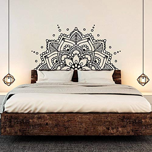 zzlfn3lv Mandala Art Vinilo Pegatinas de Pared Mandala Bohemio Cama de Flores decoración extraíble Tatuajes de Pared cabecero Dormitorio Mural 1 114x57 cm