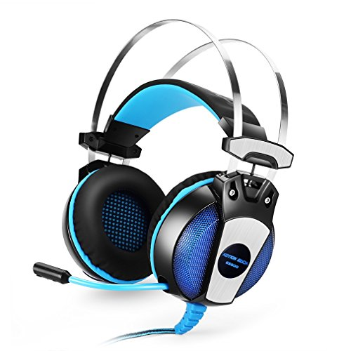 GS500 Gaming Headsets with Microphone 3.5mm Over Ear Gaming Headphones On-Ear Earphone with in-Line Volume Control LED Light 6.9ft Long Cable for PS4 PC Computer-Blue