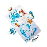Badewannenmatte Rutschfest für Kinder Baby Wanneneinlage Antirutschmatte Badewanne Duschmatte mit Saugnäpfen für Badezimmer,Natura BPA frei,70 x 40 cm Fisch (Meeresbewohner)