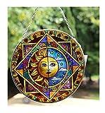 Acchiappasole in vetro con eclisse di sole e di luna...