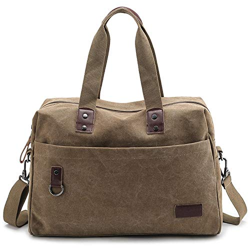 Men Large Travel Duffle Canvas Luggage Handbag Portable Bag Black Trip Tote Solid Crossbody Bags,Khaki