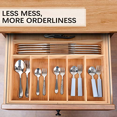 Vidor Kitchen Drawer Organizer - Expandable Silverware Organizer/Utensil Holder and Cutlery Tray with Grooved Drawer Dividers for Flatware and Kitchen Utensils (9 Slots, Natural)