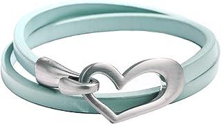 نافاست اليدوية القلب سوار بو الجلود قلادة قلادة مزدوجة الاستخدام للنساء الفتيات