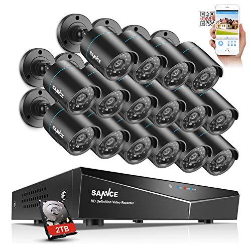 SANNCE 720P HD Überwachungskamera Set 16 Kanal DVR mit 16 Outdoor 720P Kamera CCTV System für Innen und Außen,2TB Festplatte,IR Nachtsicht
