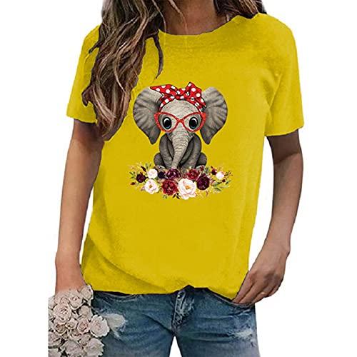 SLYZ Summer Ladies Plus Size Cuello Redondo Estampado De Manga Corta Camiseta De Mujer Blusa De Todo Fósforo Mujer