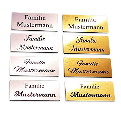 Klingelschild Türschild Briefkastenschild Namensschild selbstklebend inkl. Gravur