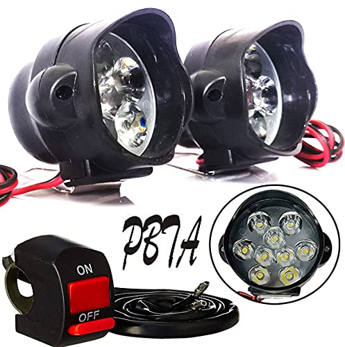 PBTA 15W 9 LED Fog Light Spot Beam Waterproof Heavy Duty Pod Driving Work Lamp with Handlebar Switch for Motorcycle Bike Car and SUV (White Light) - 2 Pieces
