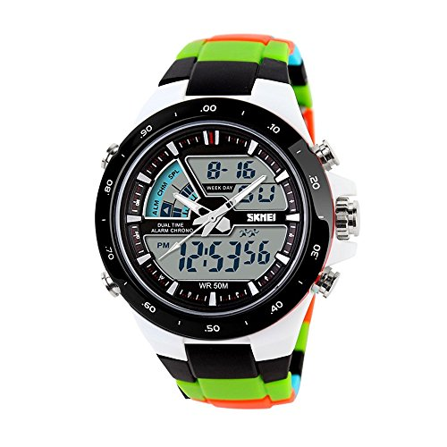 TONSHEN Digital Sport Watches for Men and Boy Multifunction Outdoor 50M Waterproof LED Electronic Analog Quarz Military Wrist Watch 12H24H Backlight Dual Time Calendar Date Stopwatch
