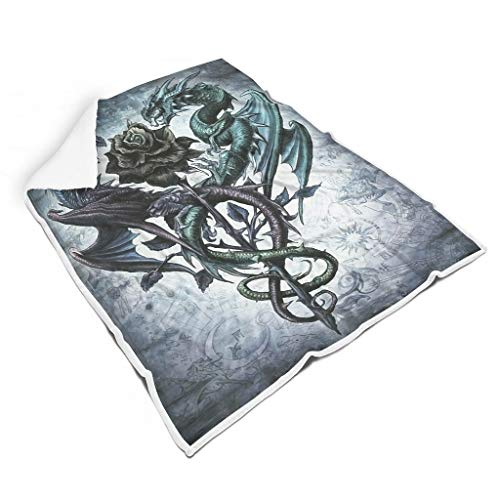 OwlOwlfan Manta de cama reversible con diseño de dragones y rosas, ligera, acogedora, transpirable, para viajes y oficina, dormitorio, color blanco 60 x 80 pulgadas