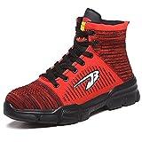 KUXUAN Zapatos de Seguridad Zapatos de Trabajo Hombre a Prueba de Pinchazos Casquillo de Punta de Acero Tejido Volador Transpirable,Red-42EU