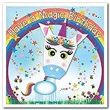Tarjeta de origami: unicornio morado arco iris y estrellas tienen un cumpleaños mágico 150 mm cuadrado
