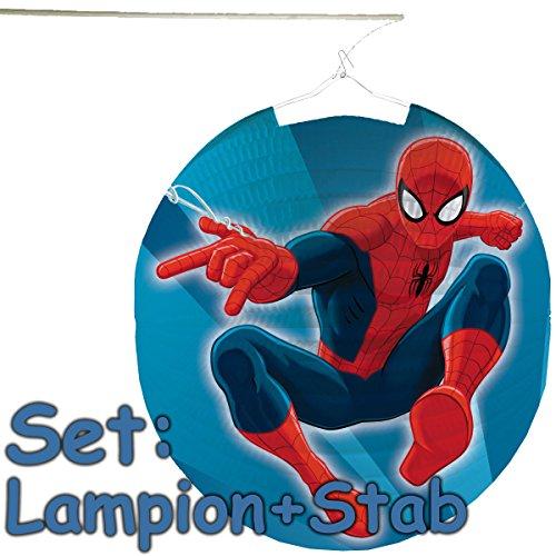Amscan/Carpeta Set: Lampion + Stab * Spider-Man * als Deko oder Spiel für Kindergeburtstag, Halloween oder Karneval // Mottoparty Motto Party Oktober Laterne