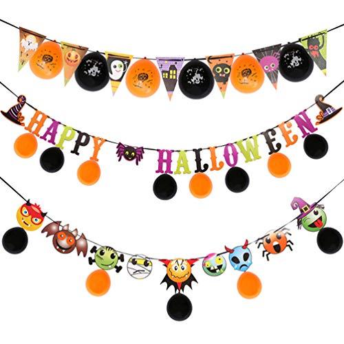 ARTIBETTER 1 Set Halloween Banner Halloween Bunting Balloon Happy Halloween Banner for Home School Garden