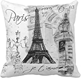 BONRI Throw Pillow Cover Vintage French Paris Torre Eiffel Collage Pintura Negra Funda de Almohada Decorativa Decoración para el hogar Cuadrado , (16'x16 / 40x40cm
