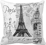 BONRI Throw Pillow Cover Vintage French Paris Torre Eiffel Collage Pintura Negra Funda de Almohada Decorativa Decoración para el hogar Cuadrado , (16'x16 / 40x40cm