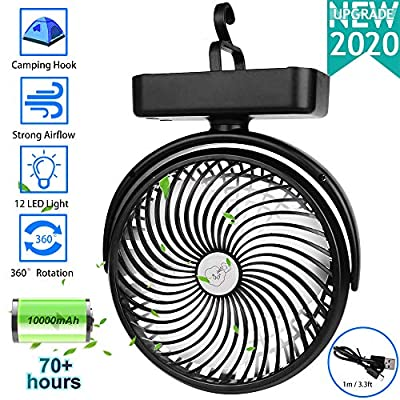 10000mAh Battery OperatedCamping Fan with LED Lantern,Portable 8.6-Inch Rechargeable Tent Fan,70 Working Hours Max USB Desk Fan with Hanging Hook for Tent Car RV Hurricane Emergency Outages Office