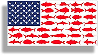 USA American Fish Flag Sticker - Patriotic Fishing Decal Vinyl Die Cut Car Truck Boat Bumper Window Graphic