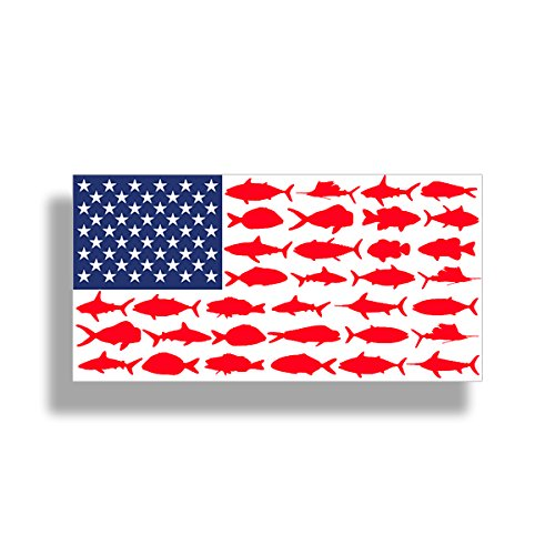 USA American Fish Flag Sticker - Patriotic Fishing Decal Vinyl Die Cut Car Truck Boat Bumper Window Graphic