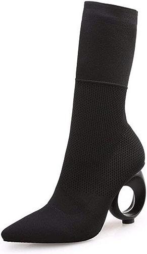 HBDLH Chaussures pour Femmes Peu De Bottes avec Haute 8Cm Pointues Sauvage en Bottes Bottines élastiques Moyen Tube.