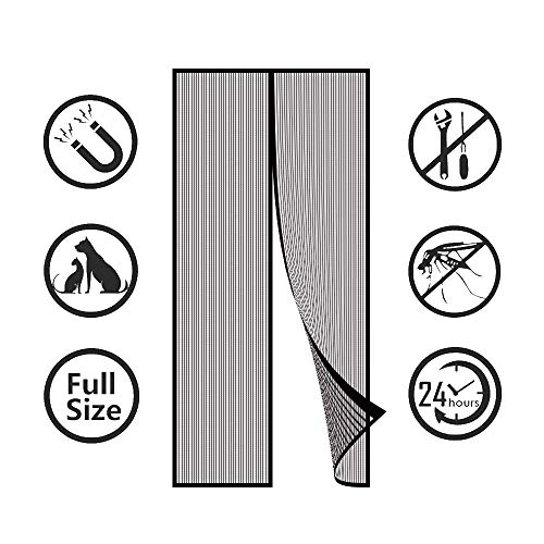 LSUOZ Magnet Fliegengitter Tür Insektenschutz, Magnetischer Fliegenvorhang Moskitonetz Automatisches Schließen Insektenschutz(Einfach zu Installieren Ohne zu Bohren)