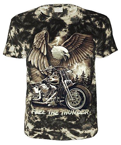 Biker T-Shirt Feel The Thunder Batik Größe XXXL