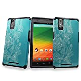 ZTE ZMAX Case, Customerfirst - Premium Design Heavy Duty Defender Dual Layer Protector Hybrid Phone Cover Case for ZTE ZMAX Z970 (Teal Lotus)