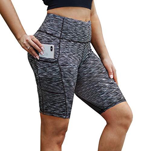 NexiEpoch Yoga-Shorts für Frauen – Hohe Taille, Bauchkontrolle, Stretch-Biker-Shorts mit Seitentaschen für Workout, Training, Damen, 20,3 cm (8 Zoll) Space Dye Schwarz, X-Large