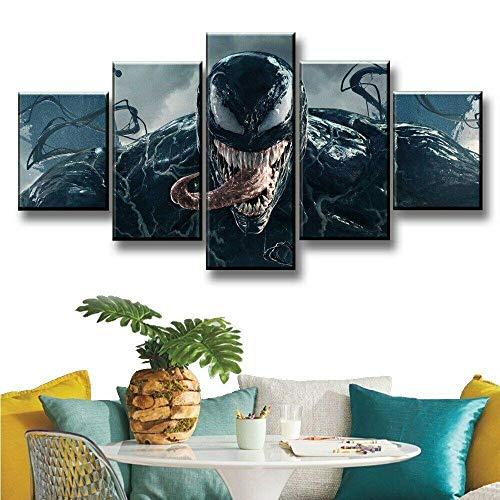 147Tdfc Kunstdrucke Moderne Druck Malerei Hintergrund Dekoration Modulare 5 Teiliges Wandbild Venom Captain America Dc Filmfigurenplakat Poster Wandkunst Leinwand Creative Geschenk Kunstwerk 150X80Cm