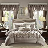 Madison Park Essentials Room in a Bag Faux Silk Comforter Set-Luxe Diamond Tufting All Season Bedding, Matching Curtains, Decorative Pillows, Queen(90'x90'), Taupe