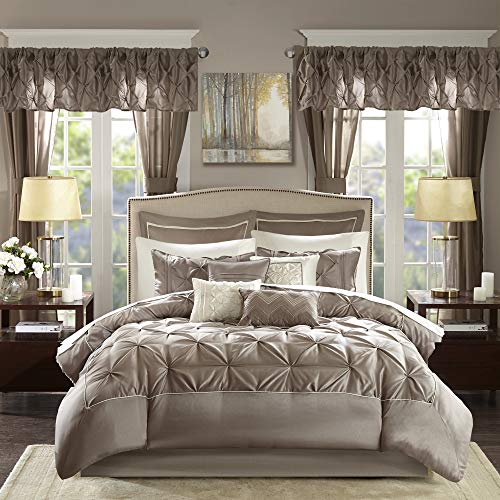 """Madison Park Essentials Room in a Bag Faux Silk Comforter Set-Luxe Diamond Tufting All Season Bedding, Matching Curtains, Decorative Pillows, Queen(90""""x90""""), Taupe"""