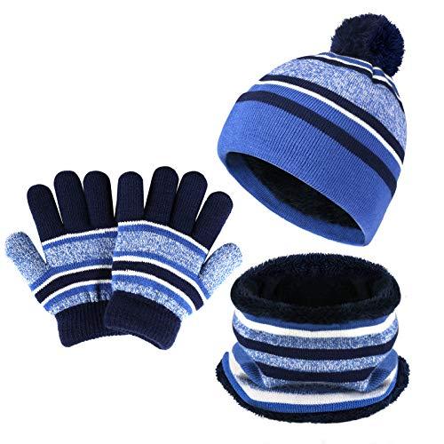 Bequemer Laden Kinder Baby Wintermütze Gestreifte Pompon Beanie Mütze und Schal Handschuhe Strickset für Jungen Mädchen mit Thermal Fleece Futter,Blau,Einheitsgröße