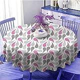 Geométrico Multicolor mantel redondo civilización persa influenciado geométrico patrón forma de lágrima curva consejos regalos para mujeres diámetro 47 pulgadas rosa gris blanco