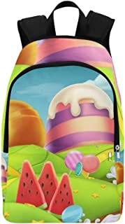 Sweet Candy Landscape Panorama 3 D Casual Daypack Travel Bag College School Backpack for Mens and Women